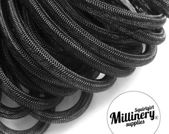 Black 6mm Tube Tubular Crin Crinoline Horsehair Braid for Millinery (3 yards)