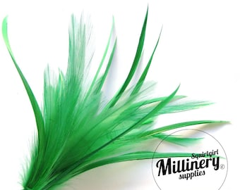 Goose Biot & Hackle Feather Hat Mount Trim for Fascinators, Wedding Bouquets and Hat Making Green