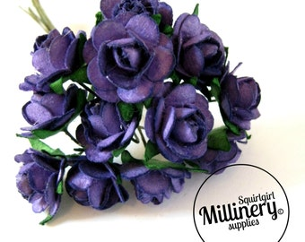 12 Purple Wired Miniature Paper Roses Flower Picks for Millinery & Tiara Making