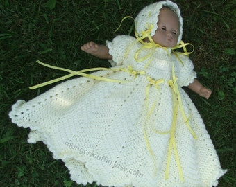 """Sunny Yellow gown and bonnet fits Bitty Baby and other 16"""" dolls"""