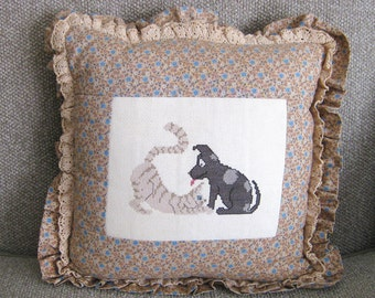 Vintage Cross Stitched Cat Dog Pillow