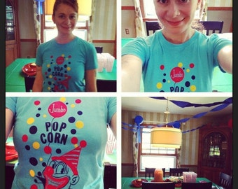 popcorn clown shirt (women) small, medium, large, xl
