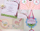 Baby Shower Package- Pink and Blue  Bird Parents Favor Tags Invitations It's a Girl Banner Door Sign Cupcake Toppers