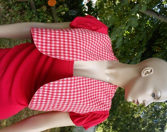 35% OFF Womens 70s Vest /Vintage Vest/ Cropped Vest in Red and White Checks Size Medium