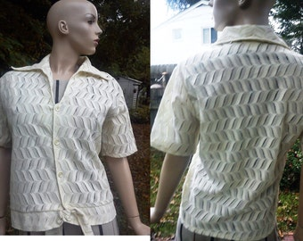 45% OFF Plus Size Shirt - Womens 70s Shirt - Evening Jacket- Vintage Shirt - Swim Cover Up in Open Weave Lace by Coronet Casuals in Cream Si