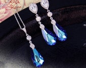 Wasima - Bermuda Blue Faceted Teardrop Crystal Earrings and Necklace Set, Something blue, Peacock Wedding,