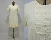SALE vintage 60s knit mini - Clam Shell ivory pearl button knit dress MOD bohemian wedding M bib