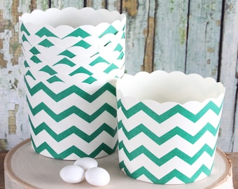 St. Patrick's Day Green Chevron Baking Cup, Chevron Cupcake Cup, Candy Cups, Muffin Cups, Holiday Baking Cups (MEDIUM SIZE - 24 ct)