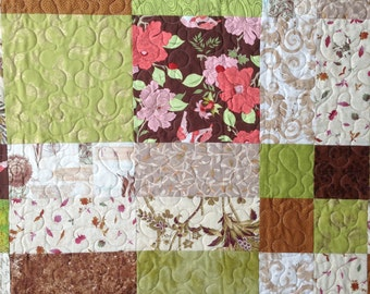 Twin Bed Quilt Blanket, Toddler Bedding, Patchwork, Fall Autumn, Shabby Chic Cottage, Green Brown and Pink
