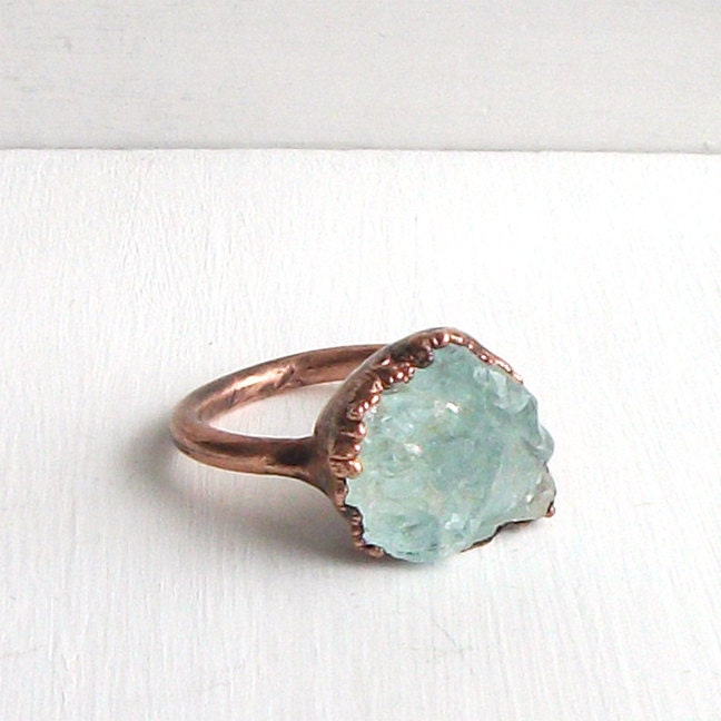 Raw Aquamarine Crystal Ring Size 7.5 Rough Rough By