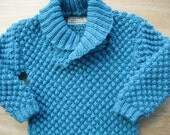 Pullover Sweater Child/Baby/Knitted Wool Size 6 months to 2 years. Aquamarine