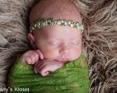 Baby Halo, Newborn Girl Headband, Green Flower Headband, Baby Girl Props, Newborn Photo Prop, Halo Headband, Newborn Girls Photo Props