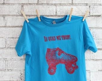 Children's Roller SkateTshirt, Cotton Crewneck Graphic Tee inTurquoise, Skates, Roller derby, T Shirt