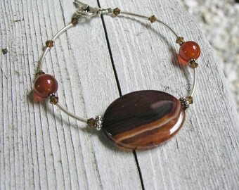 Carnelian and Agate Stone and Sterling Silver Bracelet/Stone Bracelet/Sterling Silver Bracelet