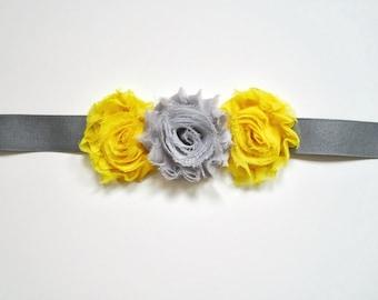 Flower Belt, Bridal Belt, Bridesmaid Belt, Bridesmaid Sash in Yellow and Gray, Yellow and Charcoal