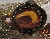 CZECH GLASS - 18x13mm Faceted Cabochon - Amber Topaz - 1 pc : sku 06.06.13.25 - S25
