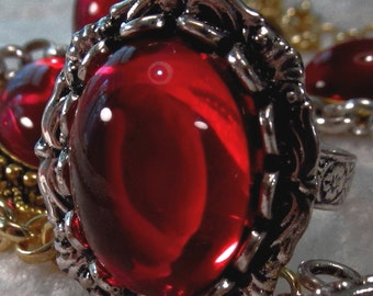 CZECH GLASS - 18x13mm Cabochon - Ruby - 1 pc : sku 06.06.13.7 - S7