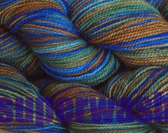 Fingering Weight Handpainted Sock Yarn in Blue Grass Superwash Green Brown