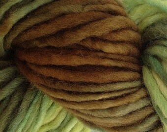 Bulky / Chunky Weight Hand Painted Wool Yarn Pencil Roving in Avocado Stone 60 yards
