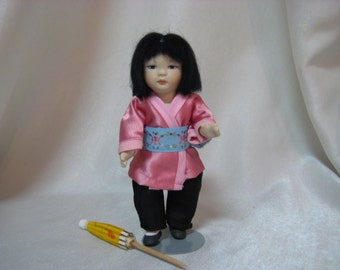 Vintage Oriental Porcelain Bisque Doll Made By PHD Michele R. Severino Doll Artist In 1989 for the H.V. Doll Club