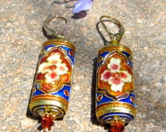 Cloisonne and Swarovski Crystal Dangle Leverback Earrings - One of a Kind