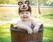 Crocheted Baby Bear Hat  newborn to 3 year sizes