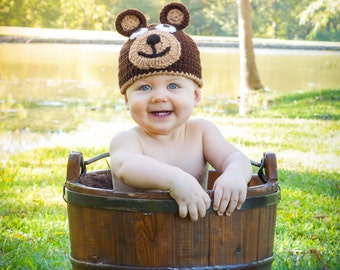 Crocheted Baby Bear Hat  newborn to 3 year sizes