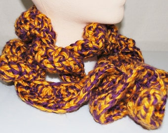 Purple and Gold Curly Scarf
