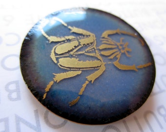 Enamel Button, Gold Beetle, Large 1 1/4 inch