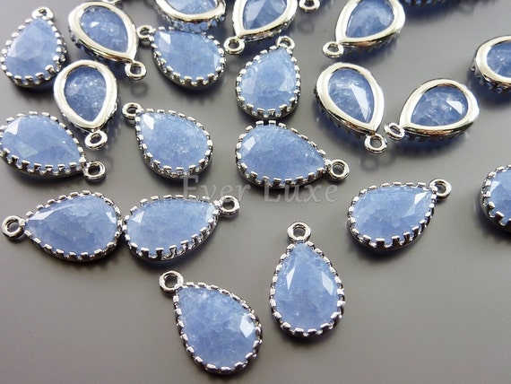 2 periwinkle crackle glass 12mm teardrop charms, periwinkle glass beads 5049R-CPW-12 (bright silver, crakle periwinkle, 12mm, 2 pieces)