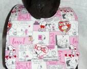 Reversible Snoopy  Valentines Day baby bib