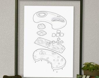 "Sega Genesis Video Game Controller Technical Illustration Poster 13""x19"""