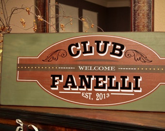 18x48 Man Cave, Theater Room, Men's Club, Bar, or Family Room Personalized Custom Wooden Sign.  Welcome your guests to a good time!
