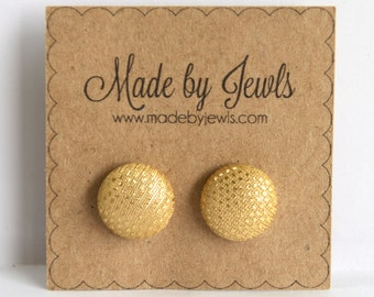 Fabric Button Earrings - Metallic Light Gold - Buy 3, get 1 FREE