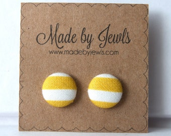Fabric Covered Button Earrings - Mustard Stripe - Buy 3, get 1 FREE