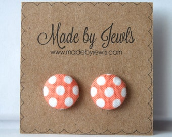 Peaches & Cream Fabric Covered Button Earrings