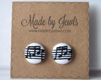 Fabric Covered Button Earrings, Melody, Buy 3, get 1 FREE