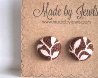 Fabric Covered Button Earrings - Brown Vine - Buy 4 get 1 FREE