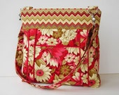 Red and Cream Floral Fabric Crossbody Bag - Red Floral Messenger Purse - Red and Cream Purse - Outside Pocket - Zipper Closure