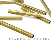 20pcs - 4x50mm High Quality Raw Brass Tube / Spacer Bar Connector (ZG143)