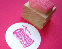 Needle and Thread  Hand Carved Rubber Stamp - Craft Stamper - Scrapbooking - Sewing Stamp - Habidashery Stamp - Craft Supplies - Bobbin