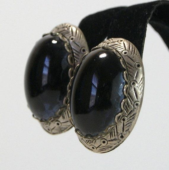Vintage Black Glass Cabochon Earrings Mad Men