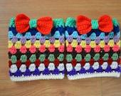Sale Crochet Women,Teen Crochet Boot Cuffs -Boot toppers - Leg warmers with bow In Multicolor