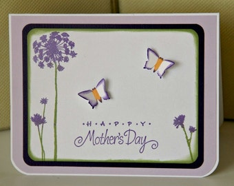 Mother's Day Card with Flowers and Butterflies, Stamped Mother's Day, Greeting Card for Mom's Special Day (MD1402)