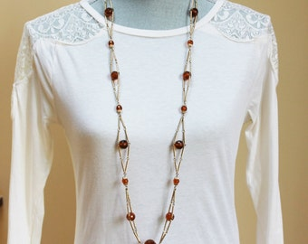 Vintage Long Gold and Citrine Brown Beaded Necklace