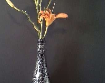 Re purposed Wine Bottle Vase