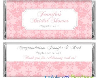 Shades of Pink Bridal Shower Wedding Birthday Party Candy Bar Wrapper Favor