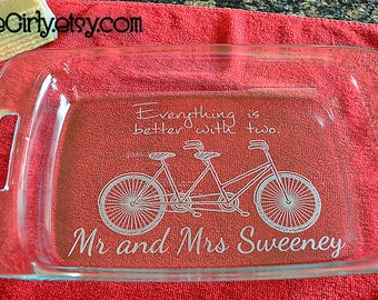 Everything Is Better With Two. Mr & Mrs {Last Name}  Tandem Bicycle. Personalized Pyrex  Dish 9x13 Casserole. Customization + Red Lid Free
