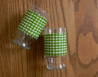 Vintage Set of 2 Green and White Gingham Glasses