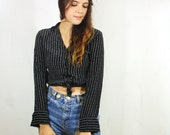 Black Striped Button Up S M